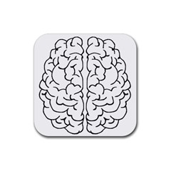 Brain Mind Gray Matter Thought Rubber Square Coaster (4 pack)
