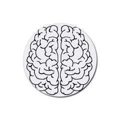 Brain Mind Gray Matter Thought Rubber Round Coaster (4 Pack)