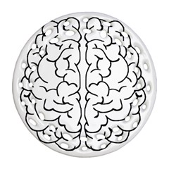 Brain Mind Gray Matter Thought Round Filigree Ornament (two Sides)