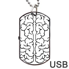 Brain Mind Gray Matter Thought Dog Tag Usb Flash (two Sides)
