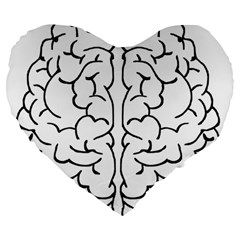 Brain Mind Gray Matter Thought Large 19  Premium Heart Shape Cushions