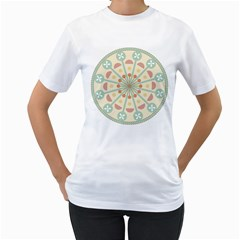 Blue Circle Ornaments Women s T Shirt (white) (two Sided)