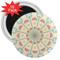 Blue Circle Ornaments 3  Magnets (10 Pack)