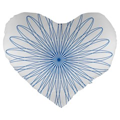 Spirograph Pattern Circle Design Large 19  Premium Flano Heart Shape Cushions