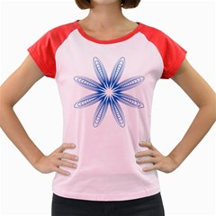 Blue Spirograph Pattern Circle Geometric Women s Cap Sleeve T-Shirt
