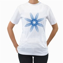 Blue Spirograph Pattern Circle Geometric Women s T Shirt (white) (two Sided)