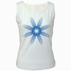 Blue Spirograph Pattern Circle Geometric Women s White Tank Top