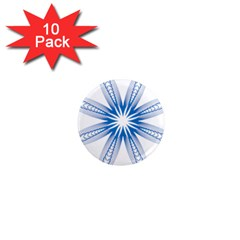 Blue Spirograph Pattern Circle Geometric 1  Mini Magnet (10 pack)