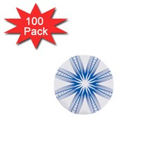 Blue Spirograph Pattern Circle Geometric 1  Mini Buttons (100 pack)