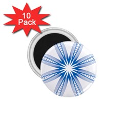 Blue Spirograph Pattern Circle Geometric 1 75  Magnets (10 Pack)