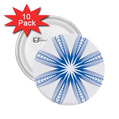 Blue Spirograph Pattern Circle Geometric 2.25  Buttons (10 pack)