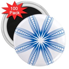 Blue Spirograph Pattern Circle Geometric 3  Magnets (100 Pack)