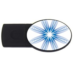 Blue Spirograph Pattern Circle Geometric Usb Flash Drive Oval (2 Gb)