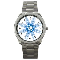 Blue Spirograph Pattern Circle Geometric Sport Metal Watch