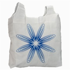 Blue Spirograph Pattern Circle Geometric Recycle Bag (Two Side)