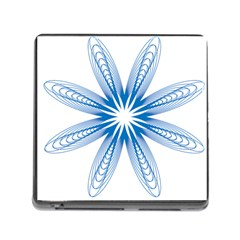 Blue Spirograph Pattern Circle Geometric Memory Card Reader (square)
