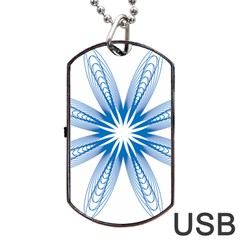 Blue Spirograph Pattern Circle Geometric Dog Tag USB Flash (Two Sides)