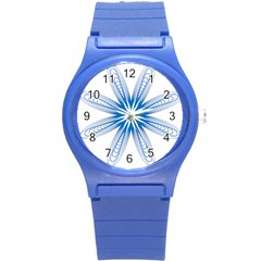 Blue Spirograph Pattern Circle Geometric Round Plastic Sport Watch (s)