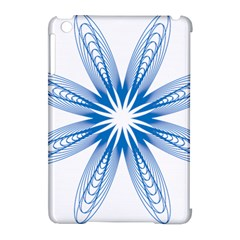 Blue Spirograph Pattern Circle Geometric Apple iPad Mini Hardshell Case (Compatible with Smart Cover)