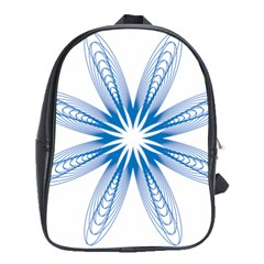 Blue Spirograph Pattern Circle Geometric School Bags (xl)