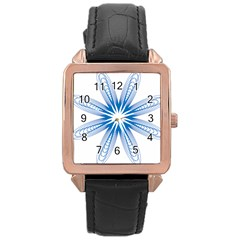 Blue Spirograph Pattern Circle Geometric Rose Gold Leather Watch