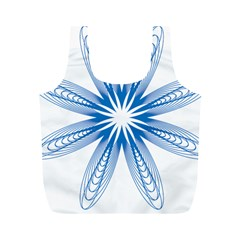 Blue Spirograph Pattern Circle Geometric Full Print Recycle Bags (m)