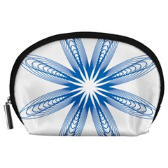 Blue Spirograph Pattern Circle Geometric Accessory Pouches (large)
