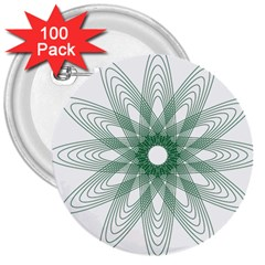 Spirograph Pattern Circle Design 3  Buttons (100 Pack)