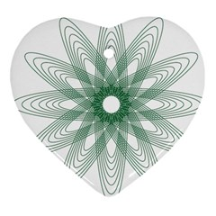 Spirograph Pattern Circle Design Heart Ornament (two Sides)