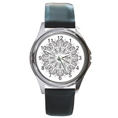 Art Coloring Flower Page Book Round Metal Watch