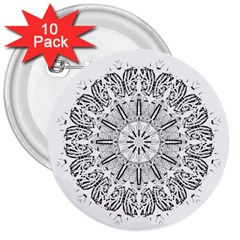 Art Coloring Flower Page Book 3  Buttons (10 Pack)