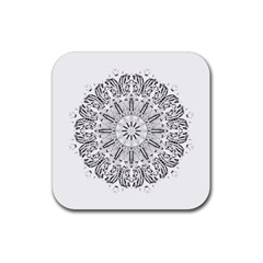 Art Coloring Flower Page Book Rubber Square Coaster (4 Pack)