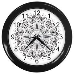 Art Coloring Flower Page Book Wall Clocks (black)