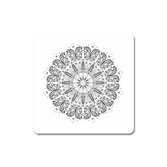 Art Coloring Flower Page Book Square Magnet