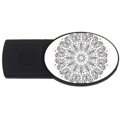 Art Coloring Flower Page Book Usb Flash Drive Oval (2 Gb)