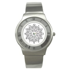 Art Coloring Flower Page Book Stainless Steel Watch