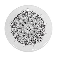 Art Coloring Flower Page Book Round Ornament (two Sides)