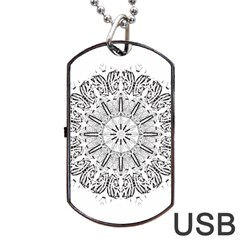 Art Coloring Flower Page Book Dog Tag USB Flash (Two Sides)