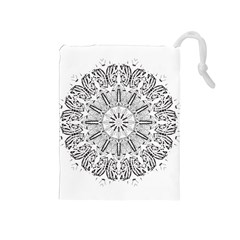 Art Coloring Flower Page Book Drawstring Pouches (Medium)