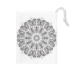 Art Coloring Flower Page Book Drawstring Pouches (large)