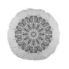 Art Coloring Flower Page Book Standard 15  Premium Flano Round Cushions