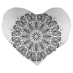 Art Coloring Flower Page Book Large 19  Premium Flano Heart Shape Cushions