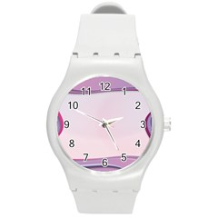 Background Image Greeting Card Heart Round Plastic Sport Watch (M)