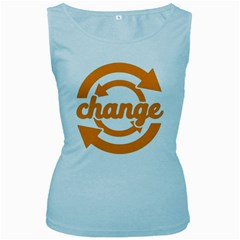 Think Switch Arrows Rethinking Women s Baby Blue Tank Top