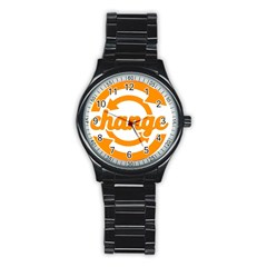 Think Switch Arrows Rethinking Stainless Steel Round Watch