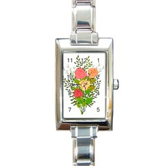 Roses Flowers Floral Flowery Rectangle Italian Charm Watch