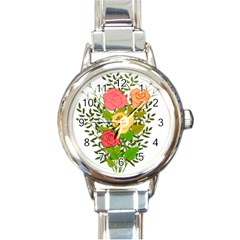 Roses Flowers Floral Flowery Round Italian Charm Watch