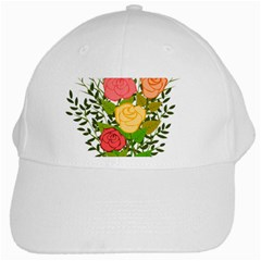 Roses Flowers Floral Flowery White Cap