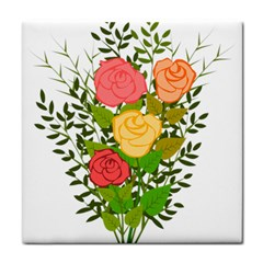 Roses Flowers Floral Flowery Tile Coasters
