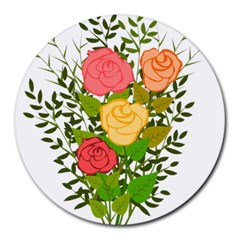 Roses Flowers Floral Flowery Round Mousepads